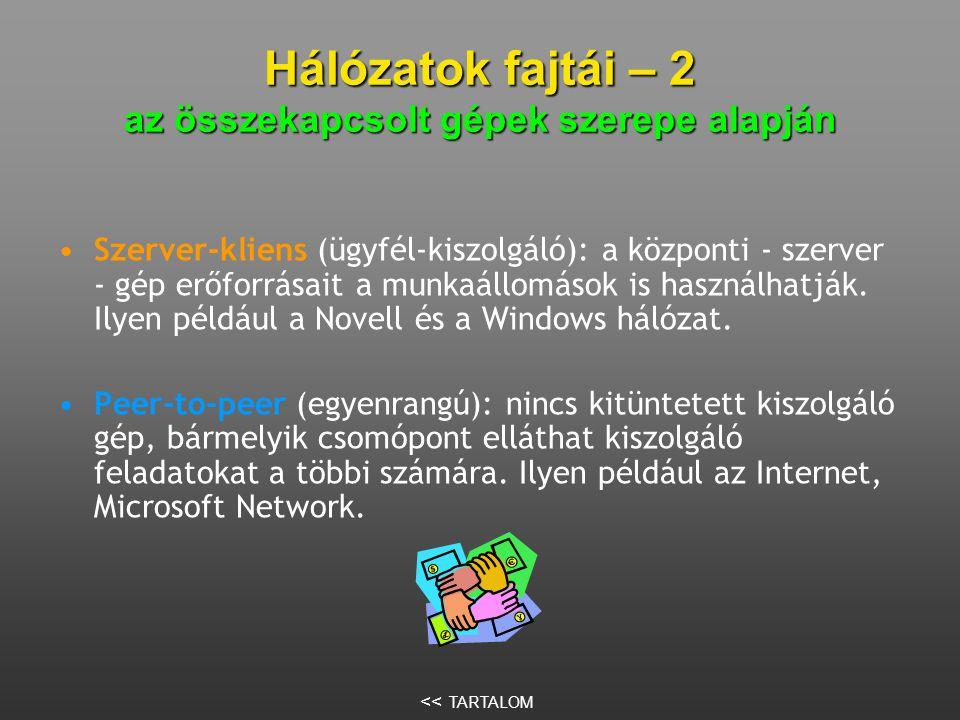 Hálózatok fajtái – 2 az összekapcsolt gépek szerepe alapján •Szerver-kliens (ügyfél-kiszolgáló): a központi - szerver - gép erőforrásait a munkaállomások is használhatják.