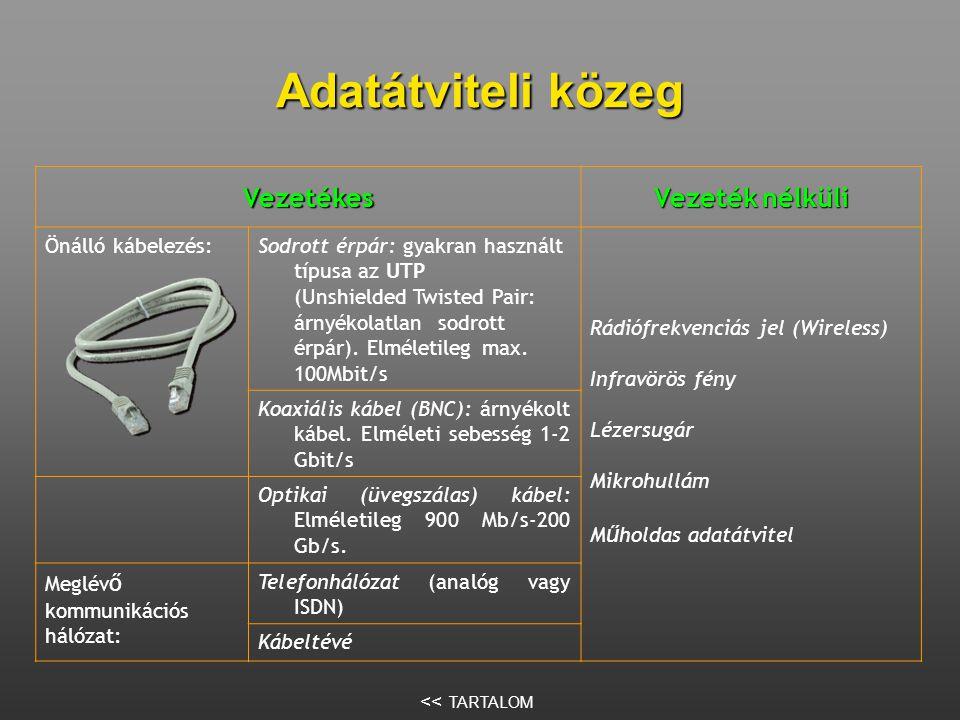 Adatátviteli közeg Vezetékes Vezeték nélküli Önálló kábelezés:Sodrott érpár: gyakran használt típusa az UTP (Unshielded Twisted Pair: árnyékolatlan sodrott érpár).