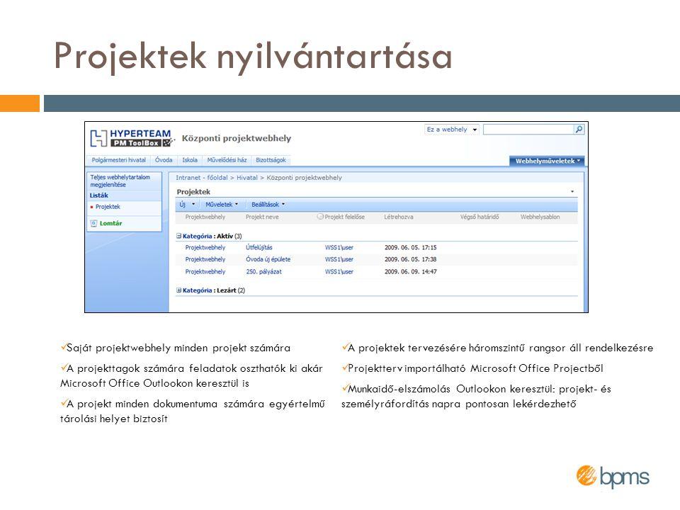 Projektek nyilvántartása  Saját projektwebhely minden projekt számára  A projekttagok számára feladatok oszthatók ki akár Microsoft Office Outlookon
