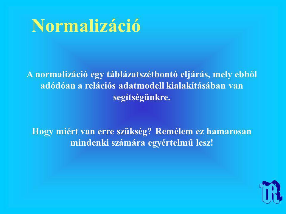 Normalizáció A normalizáció egy táblázatszétbontó eljárás, mely ebből adódóan a relációs adatmodell kialakításában van segítségünkre. Hogy miért van e