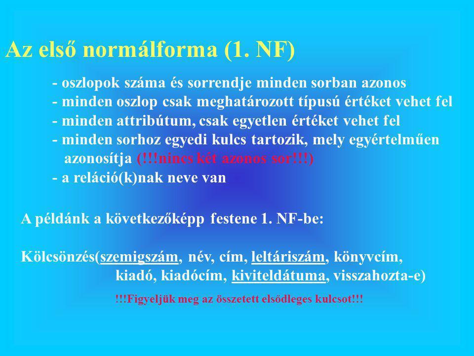 Az első normálforma (1. NF) - oszlopok száma és sorrendje minden sorban azonos - minden oszlop csak meghatározott típusú értéket vehet fel - minden at