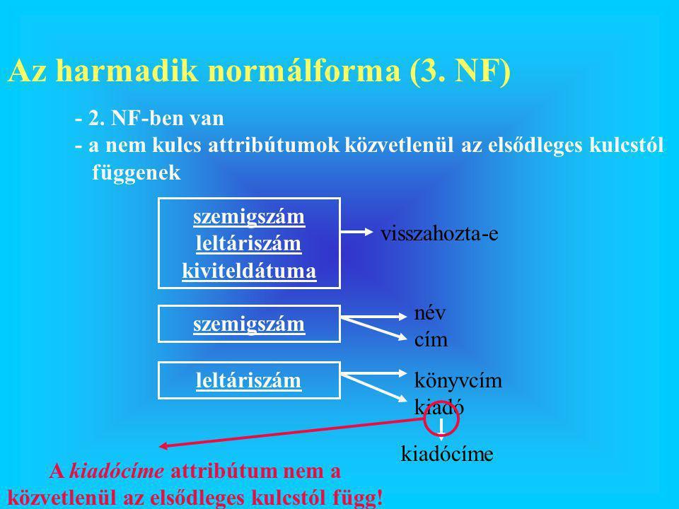 Az harmadik normálforma (3. NF) - 2. NF-ben van - a nem kulcs attribútumok közvetlenül az elsődleges kulcstól függenek szemigszám leltáriszám kiviteld