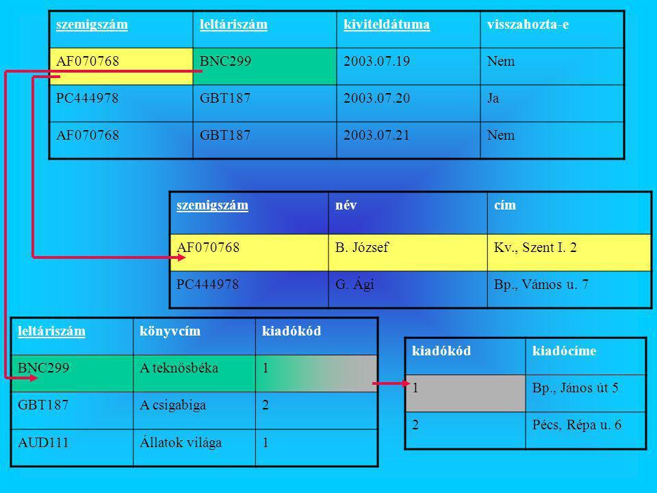 szemigszámleltáriszámkiviteldátumavisszahozta-e AF070768BNC2992003.07.19Nem PC444978GBT1872003.07.20Ja AF070768GBT1872003.07.21Nem szemigszámnévcím AF