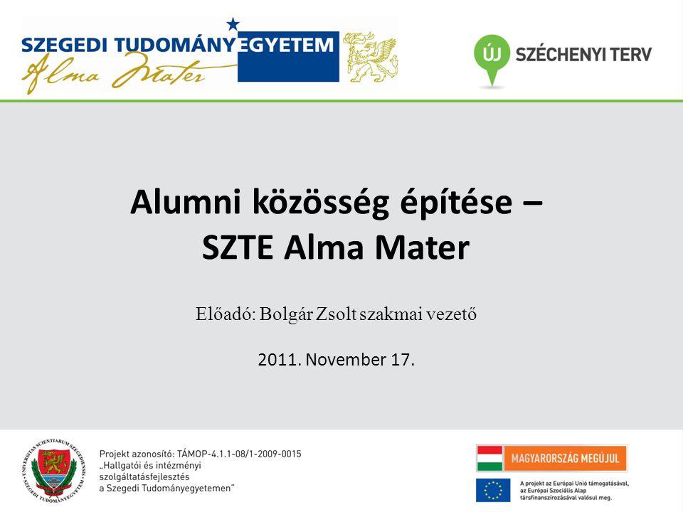 Alumni rendezvények 1.Sikeres életutat bejárt végzősök tapasztalat átadó bemutatkozásai (Tudományterületenként: BTK, GTK, ÁJTK, TTIK) 2.5 éves az SZTE Alma Mater rendezvény (2010.12.09)– Első tagkártya átadása 3.Alma Mater Díj átadása cégképviselőknek – Munkaerőpiaci workshop (Cas Software) 4.Társadalmi felelősségvállalás napja (2011.04.20) - Föld napja a TIK-ben – Bio menü az aktív tagoknak 5.Kari évfolyam találkozók támogatása (TTIK jubileumi öregdiák találkozó) 6.Díszdiploma kiosztáskor emléklap átadása, jubileumi találkozókra ajándék oklevél átadása
