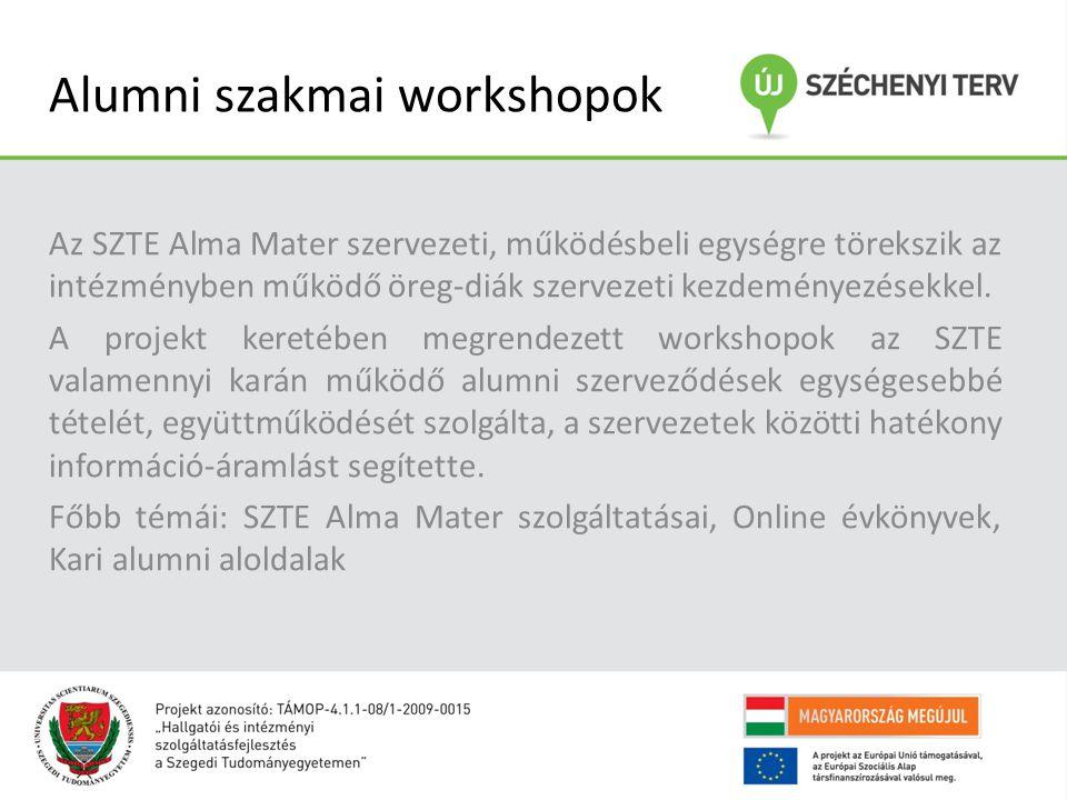 Alumni szakmai workshopok Az SZTE Alma Mater szervezeti, működésbeli egységre törekszik az intézményben működő öreg-diák szervezeti kezdeményezésekkel