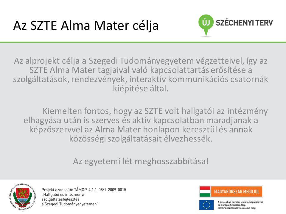 Az SZTE Alma Mater célja Az alprojekt célja a Szegedi Tudományegyetem végzetteivel, így az SZTE Alma Mater tagjaival való kapcsolattartás erősítése a szolgáltatások, rendezvények, interaktív kommunikációs csatornák kiépítése által.