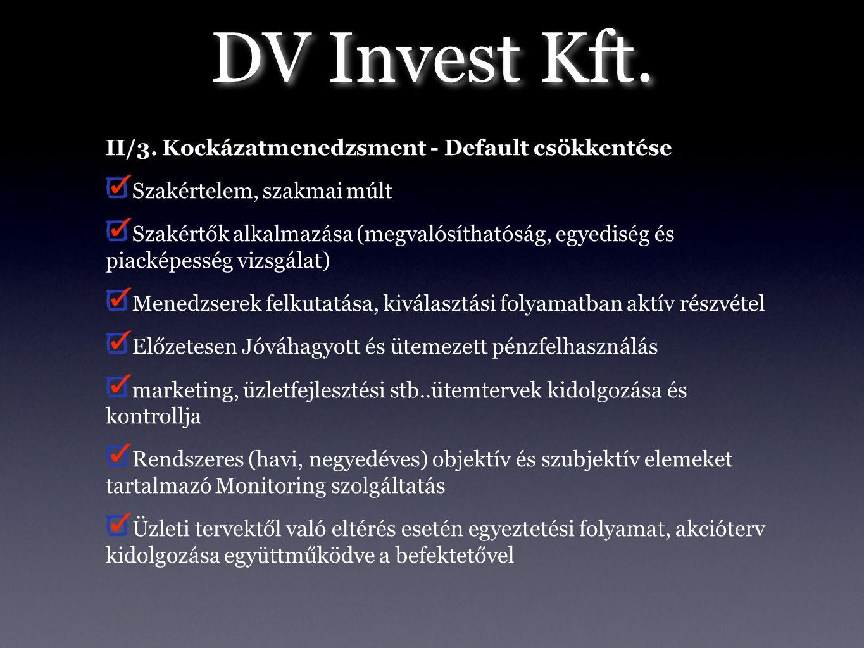 DV Invest Kft. II/3. Kockázatmenedzsment - Default csökkentése Szakértelem, szakmai múlt Szakértők alkalmazása (megvalósíthatóság, egyediség és piacké
