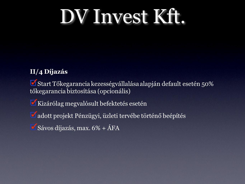 DV Invest Kft. II/4 Díjazás Start Tőkegarancia kezességvállalása alapján default esetén 50% tőkegarancia biztosítása (opcionális) Kizárólag megvalósul