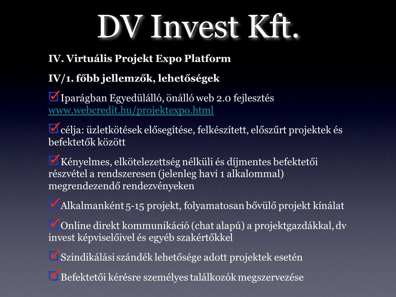 DV Invest Kft. IV. Virtuális Projekt Expo Platform IV/1. főbb jellemzők, lehetőségek Iparágban Egyedülálló, önálló web 2.0 fejlesztés www.webcredit.hu
