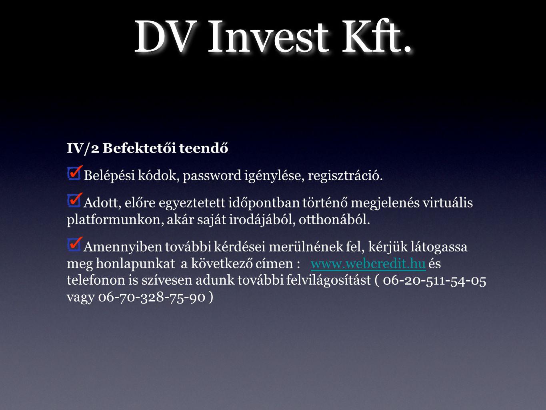 IV/2 Befektetői teendő Belépési kódok, password igénylése, regisztráció. Adott, előre egyeztetett időpontban történő megjelenés virtuális platformunko