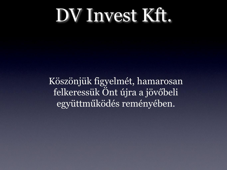 DV Invest Kft. Köszönjük figyelmét, hamarosan felkeressük Önt újra a jövőbeli együttműködés reményében.