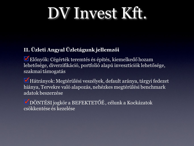 DV Invest Kft. II. Üzleti Angyal Üzletágunk jellemzői Előnyök: Cégérték teremtés és építés, kiemelkedő hozam lehetősége, diverzifikáció, portfolió ala