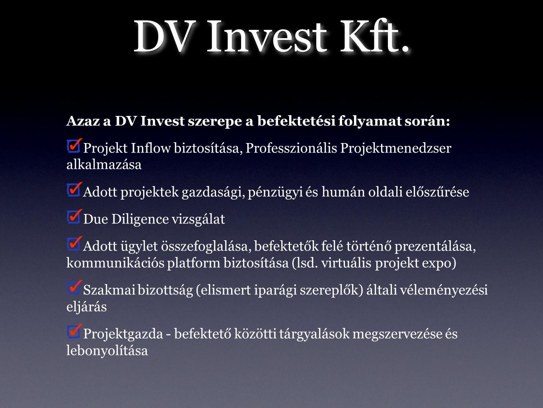 DV Invest Kft. Azaz a DV Invest szerepe a befektetési folyamat során: Projekt Inflow biztosítása, Professzionális Projektmenedzser alkalmazása Adott p