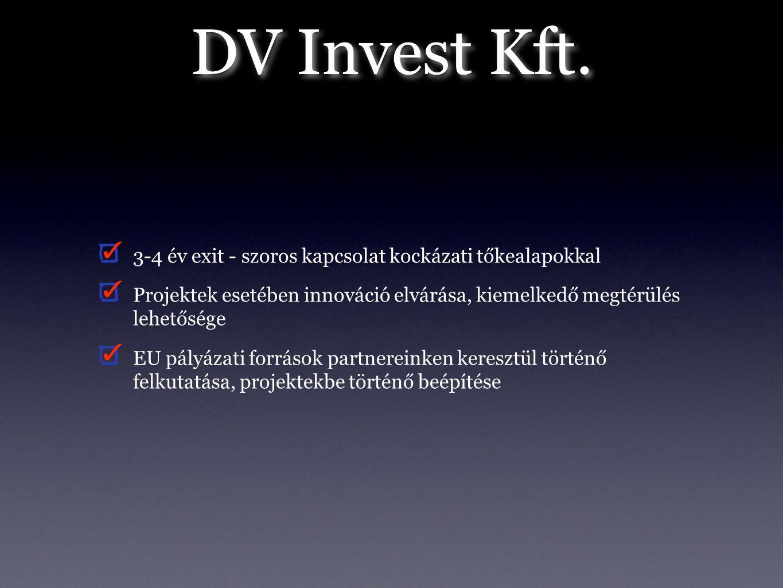 DV Invest Kft. 3-4 év exit - szoros kapcsolat kockázati tőkealapokkal Projektek esetében innováció elvárása, kiemelkedő megtérülés lehetősége EU pályá