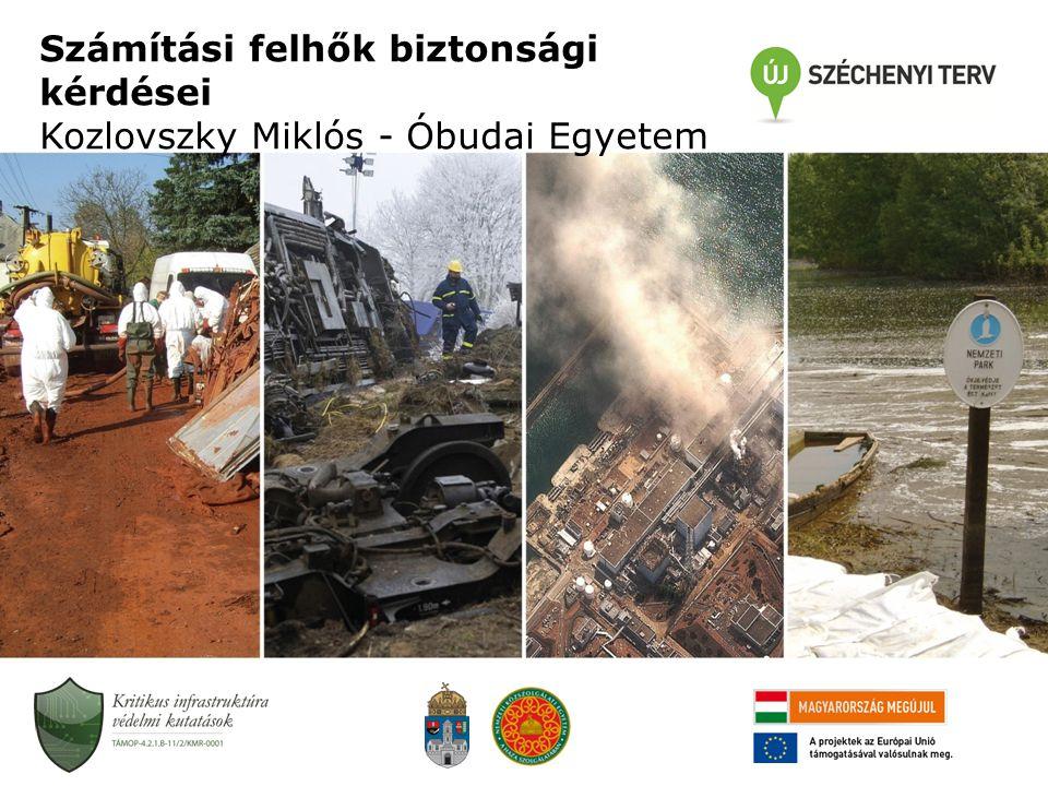 Számítási felhők biztonsági kérdései Kozlovszky Miklós - Óbudai Egyetem