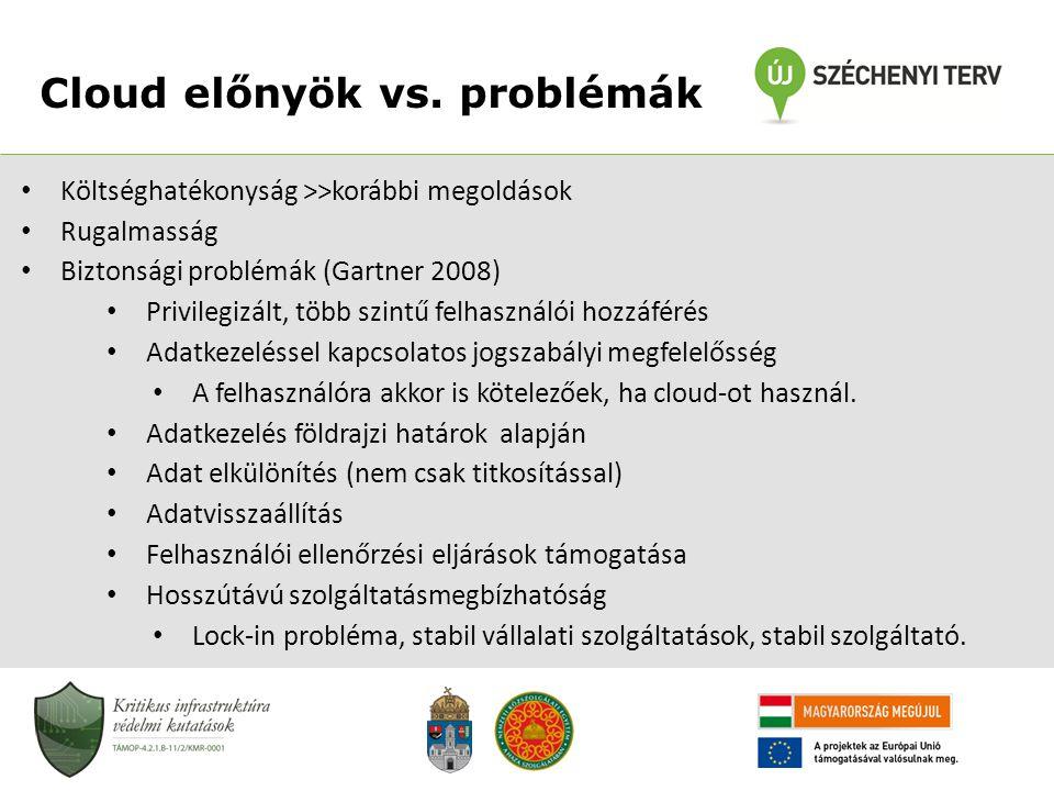 Cloud előnyök vs. problémák • Költséghatékonyság >>korábbi megoldások • Rugalmasság • Biztonsági problémák (Gartner 2008) • Privilegizált, több szintű