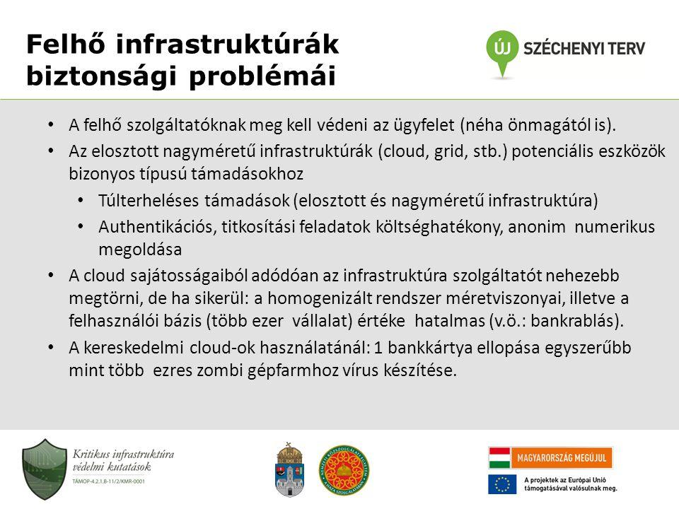 • A felhő szolgáltatóknak meg kell védeni az ügyfelet (néha önmagától is). • Az elosztott nagyméretű infrastruktúrák (cloud, grid, stb.) potenciális e