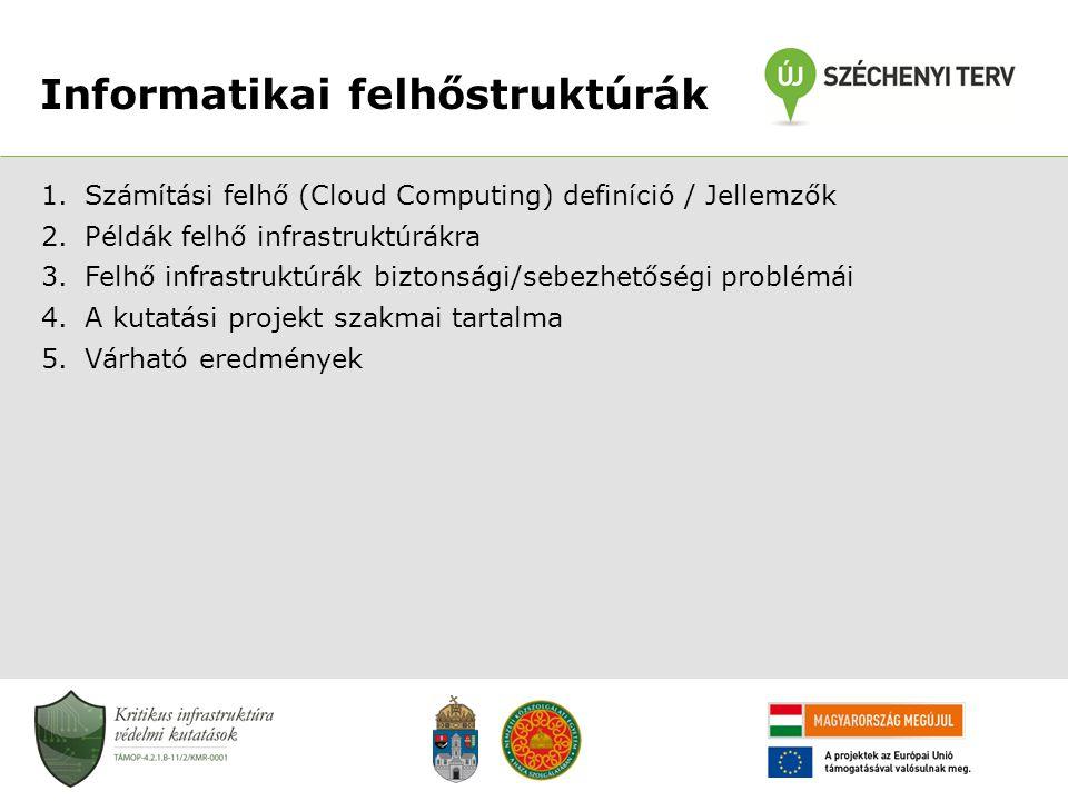Informatikai felhőstruktúrák 1.Számítási felhő (Cloud Computing) definíció / Jellemzők 2.Példák felhő infrastruktúrákra 3.Felhő infrastruktúrák bizton