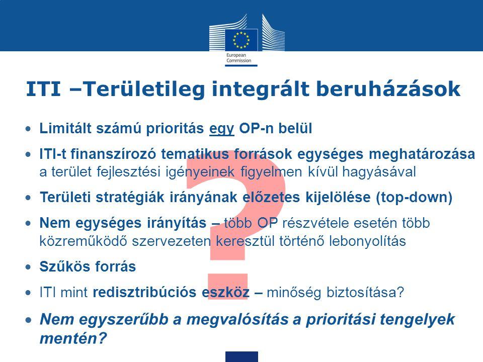 ? ITI –Területileg integrált beruházások  Limitált számú prioritás egy OP-n belül  ITI-t finanszírozó tematikus források egységes meghatározása a te