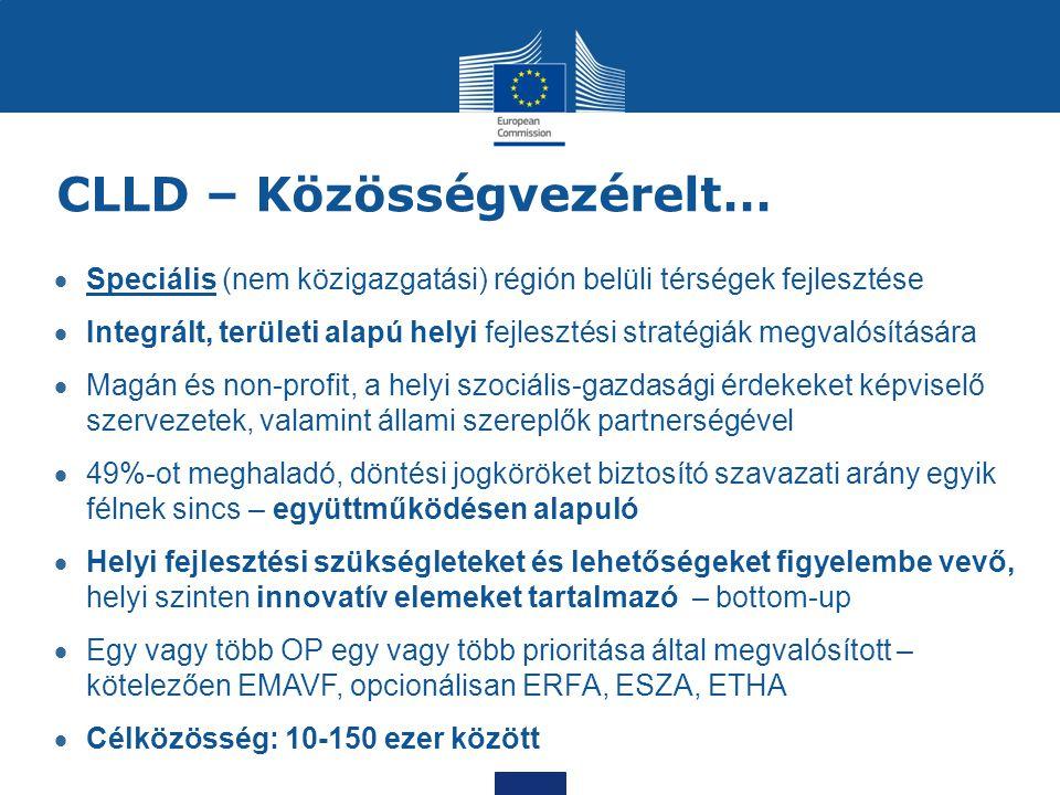 CLLD – Közösségvezérelt…  Speciális (nem közigazgatási) régión belüli térségek fejlesztése  Integrált, területi alapú helyi fejlesztési stratégiák m