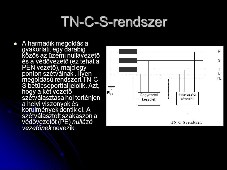 TN-C-S-rendszer   A harmadik megoldás a gyakorlati: egy darabig közös az üzemi nullavezető és a védővezető (ez tehát a PEN vezető), majd egy ponton