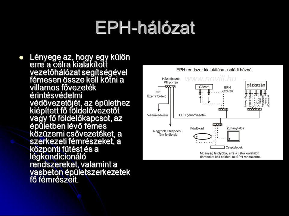 EPH-hálózat  Lényege az, hogy egy külön erre a célra kialakított vezetőhálózat segítségével fémesen össze kell kötni a villamos fővezeték érintésvéde