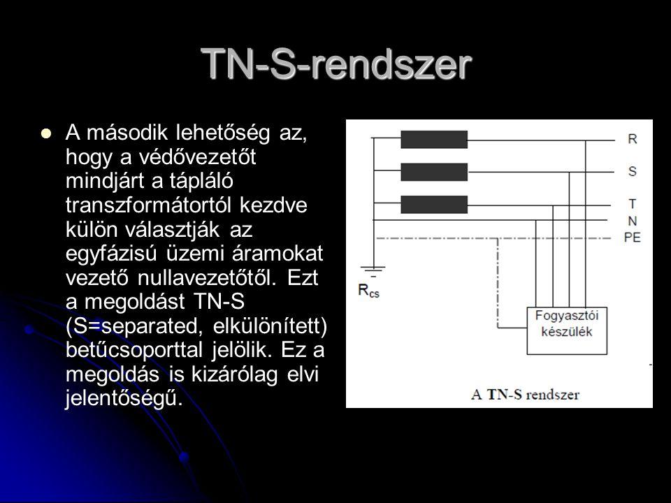 TN-S-rendszer   A második lehetőség az, hogy a védővezetőt mindjárt a tápláló transzformátortól kezdve külön választják az egyfázisú üzemi áramokat