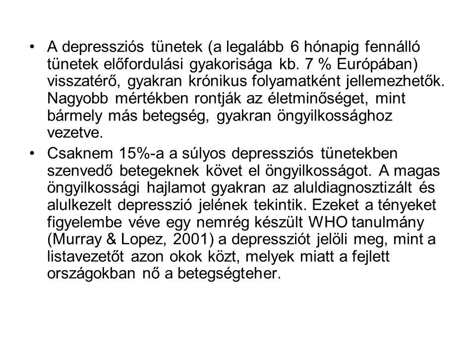 •A depressziós tünetek (a legalább 6 hónapig fennálló tünetek előfordulási gyakorisága kb. 7 % Európában) visszatérő, gyakran krónikus folyamatként je
