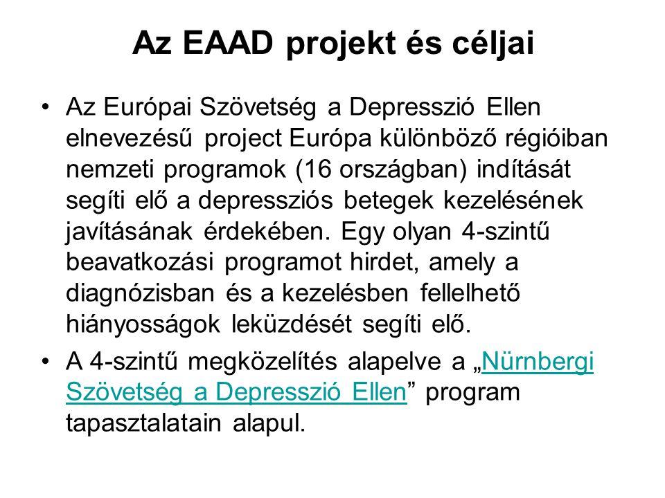 Az EAAD projekt és céljai •Az Európai Szövetség a Depresszió Ellen elnevezésű project Európa különböző régióiban nemzeti programok (16 országban) indí