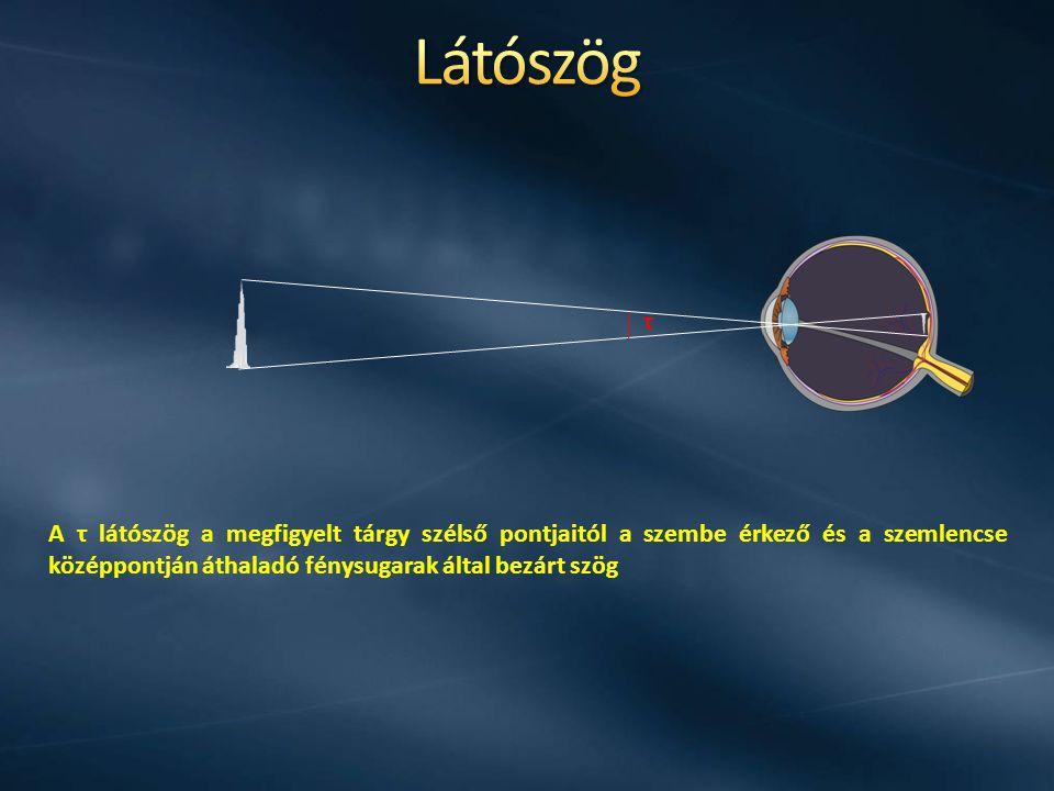 A τ látószög a megfigyelt tárgy szélső pontjaitól a szembe érkező és a szemlencse középpontján áthaladó fénysugarak által bezárt szög τ