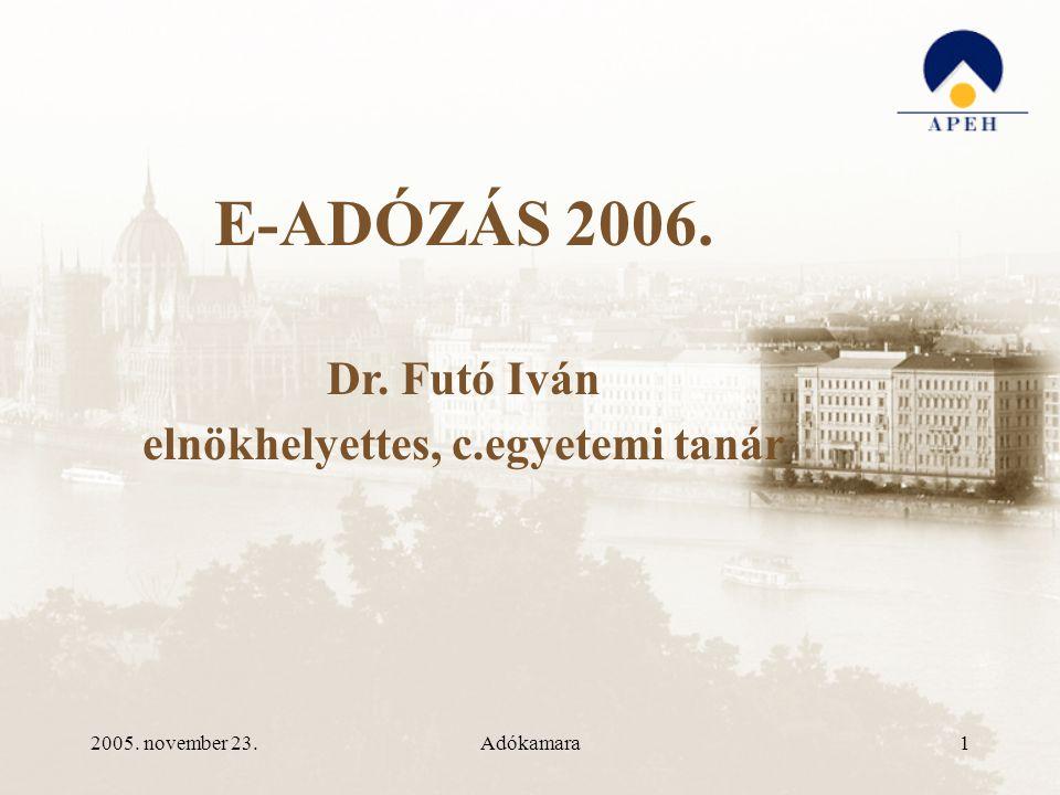 2005. november 23.Adókamara1 E-ADÓZÁS 2006. Dr. Futó Iván elnökhelyettes, c.egyetemi tanár