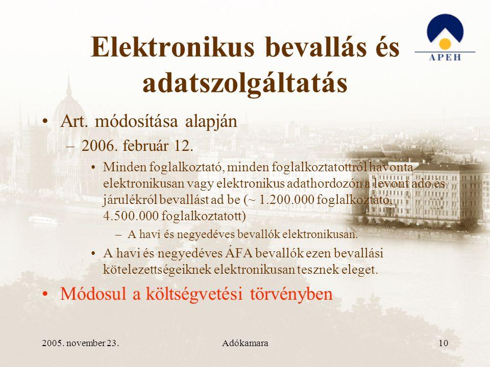 2005. november 23.Adókamara10 Elektronikus bevallás és adatszolgáltatás •Art.