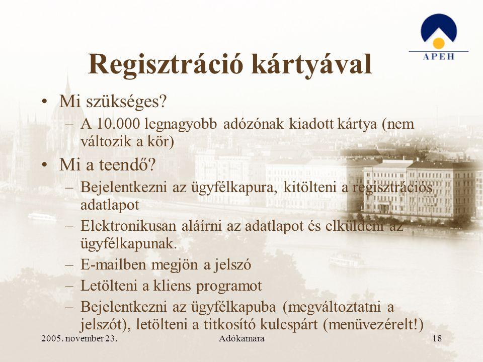 2005. november 23.Adókamara18 Regisztráció kártyával •Mi szükséges.