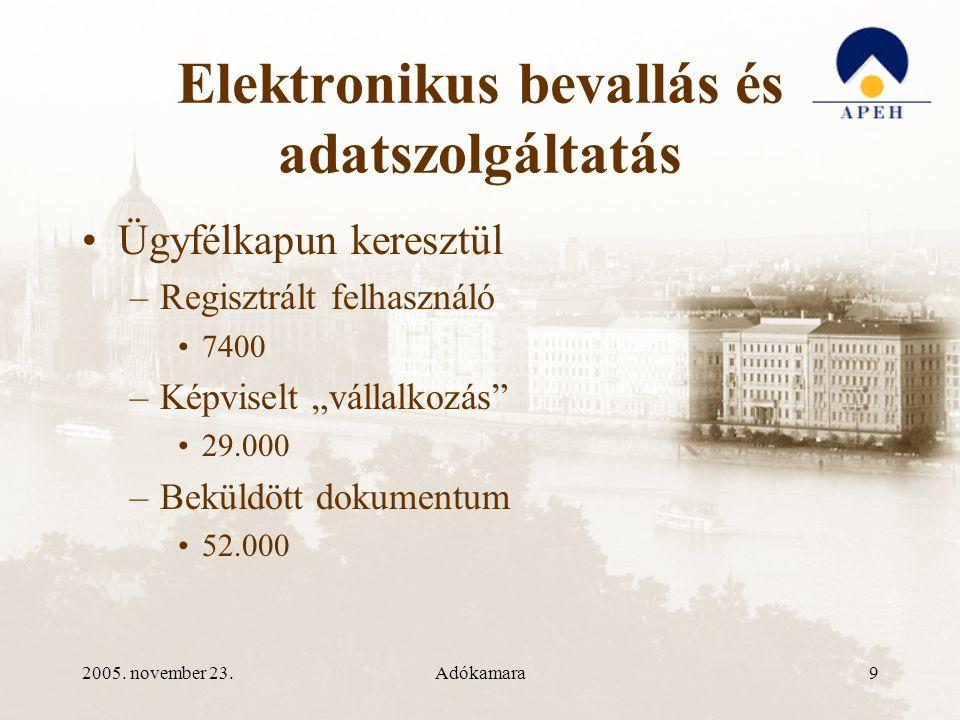 2005.november 23.Adókamara10 Elektronikus bevallás és adatszolgáltatás •Art.