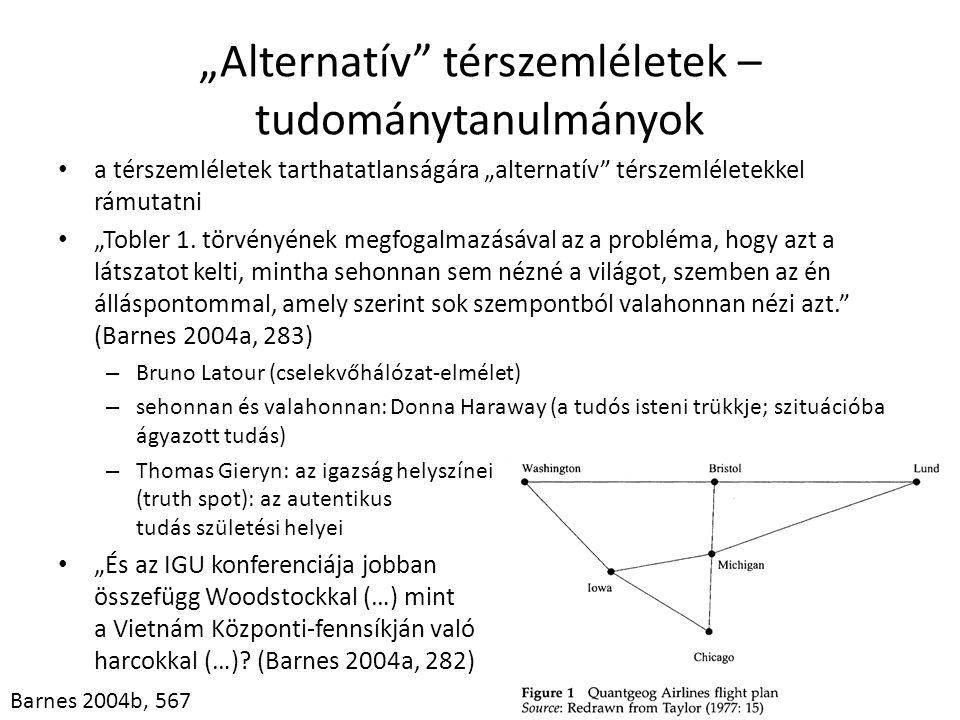 """""""Alternatív"""" térszemléletek – tudománytanulmányok • a térszemléletek tarthatatlanságára """"alternatív"""" térszemléletekkel rámutatni • """"Tobler 1. törvényé"""