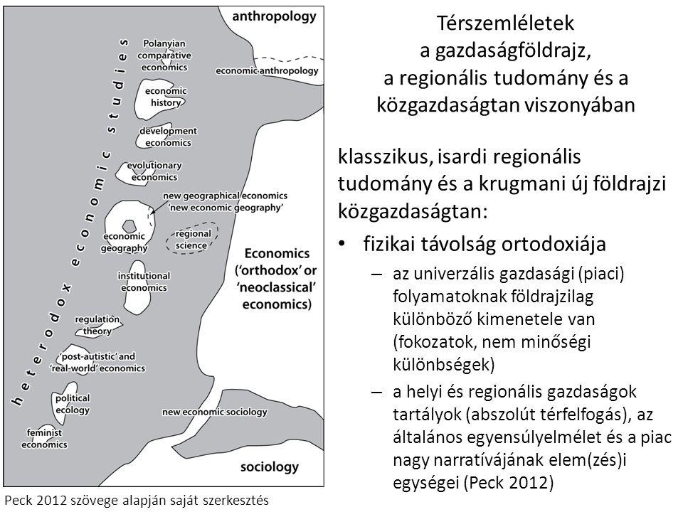 Térszemléletek a gazdaságföldrajz, a regionális tudomány és a közgazdaságtan viszonyában klasszikus, isardi regionális tudomány és a krugmani új földr