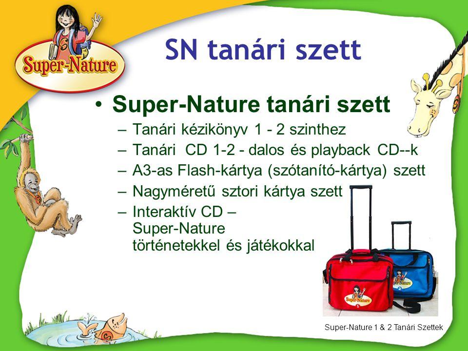 SN tanári szett Super-Nature 1 & 2 Tanári Szettek •Super-Nature tanári szett –Tanári kézikönyv 1 - 2 szinthez –Tanári CD 1-2 - dalos és playback CD--k