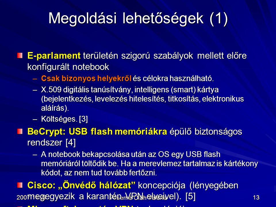 2007.11.27. Póserné Oláh Valéria 13 E-parlament területén szigorú szabályok mellett előre konfigurált notebook –Csak bizonyos helyekről és célokra has