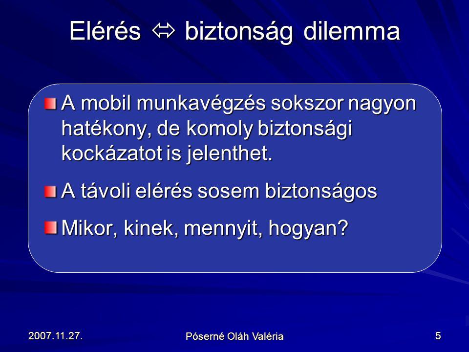 2007.11.27. Póserné Oláh Valéria 5 A mobil munkavégzés sokszor nagyon hatékony, de komoly biztonsági kockázatot is jelenthet. A távoli elérés sosem bi