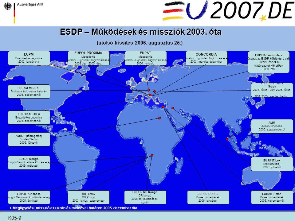 ESDP – Működések és missziók 2003. óta (utolsó frissítés 2006. augusztus 25.) EUPT Koszovó- terv Csapat az ESDP küldetésre való készüléshez a határoza