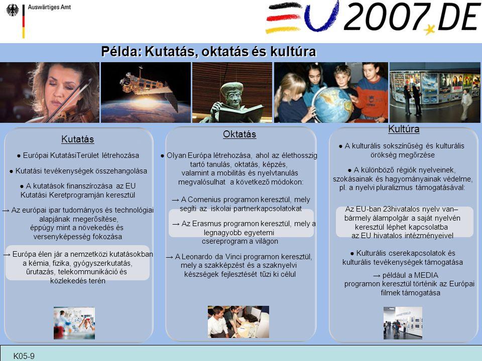 Oktatás ● Olyan Európa létrehozása, ahol az élethosszig tartó tanulás, oktatás, képzés, valamint a mobilitás és nyelvtanulás megvalósulhat a következő