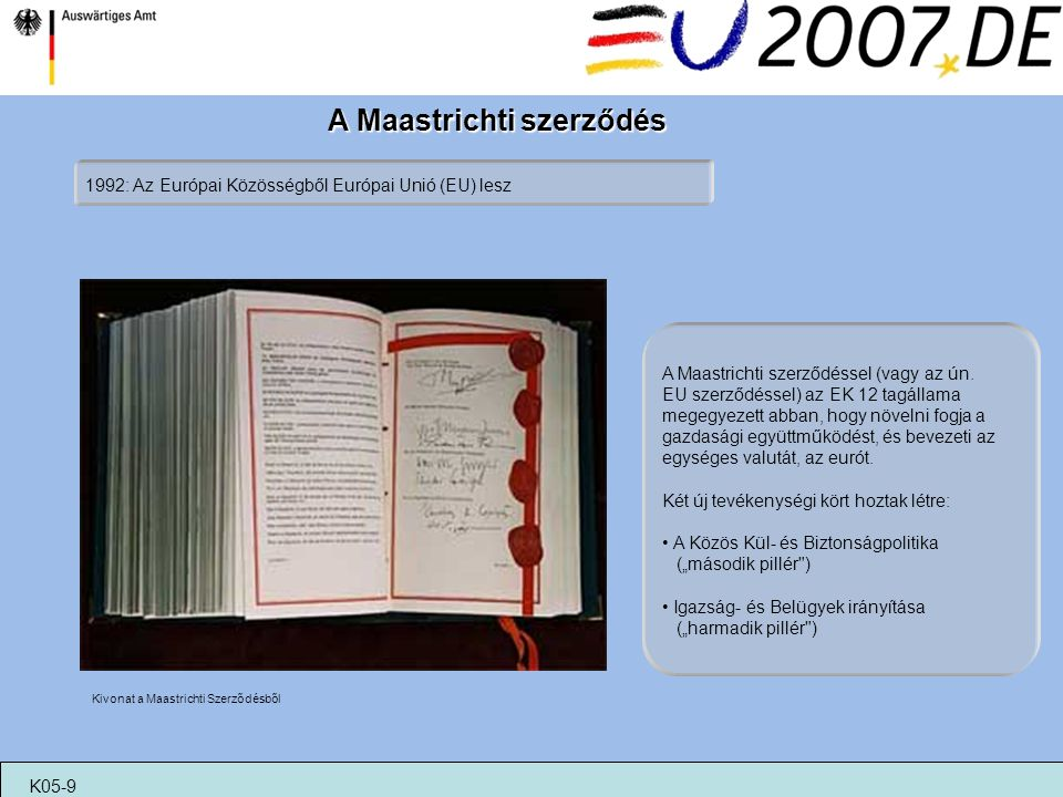 A Maastrichti szerződés 1992: Az Európai Közösségből Európai Unió (EU) lesz Kivonat a Maastrichti Szerződésből K05-9 A Maastrichti szerződéssel (vagy
