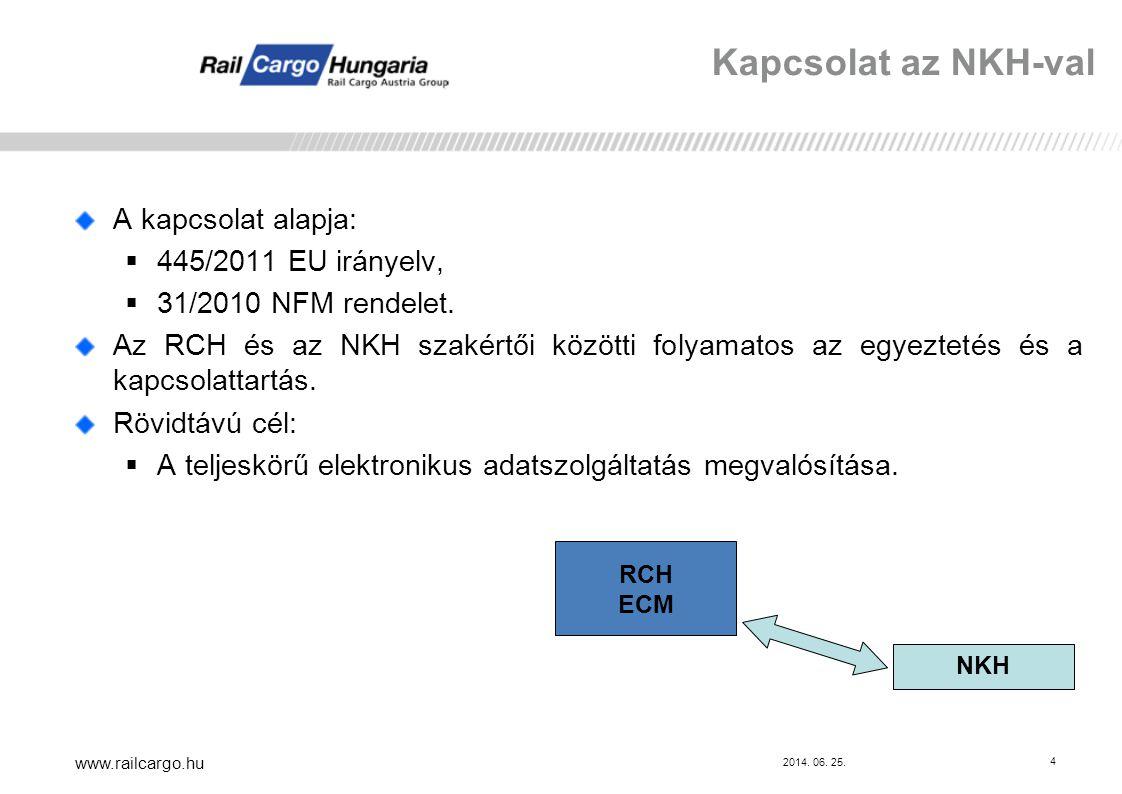 2014. 06. 25. www.railcargo.hu 4 A kapcsolat alapja:  445/2011 EU irányelv,  31/2010 NFM rendelet. Az RCH és az NKH szakértői közötti folyamatos az