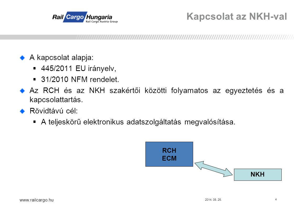 2014.06. 25. www.railcargo.hu 5 Az RCH a MÁV Zrt.