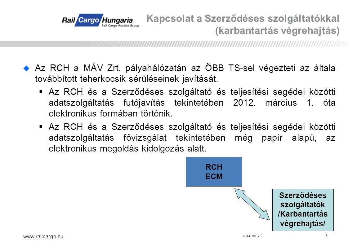2014. 06. 25. www.railcargo.hu 5 Az RCH a MÁV Zrt. pályahálózatán az ÖBB TS-sel végezteti az általa továbbított teherkocsik sérüléseinek javítását. 