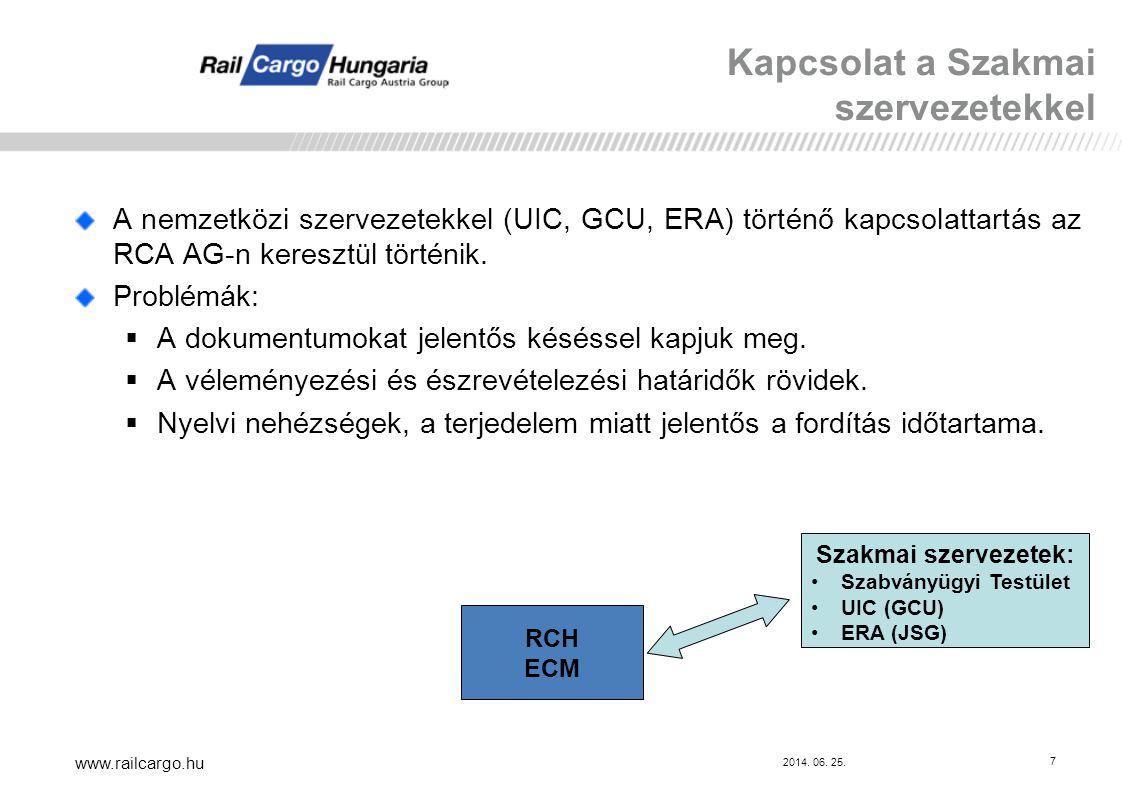 2014. 06. 25. www.railcargo.hu 7 A nemzetközi szervezetekkel (UIC, GCU, ERA) történő kapcsolattartás az RCA AG-n keresztül történik. Problémák:  A do