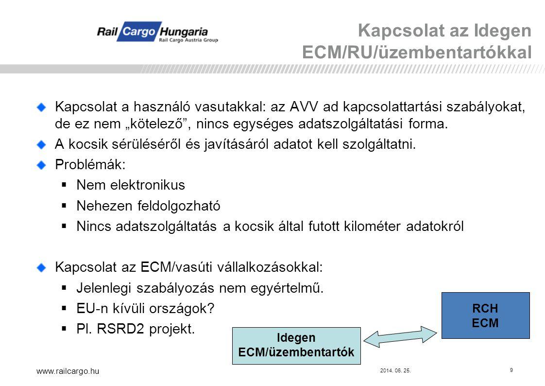 """2014. 06. 25. www.railcargo.hu 9 Kapcsolat a használó vasutakkal: az AVV ad kapcsolattartási szabályokat, de ez nem """"kötelező"""", nincs egységes adatszo"""