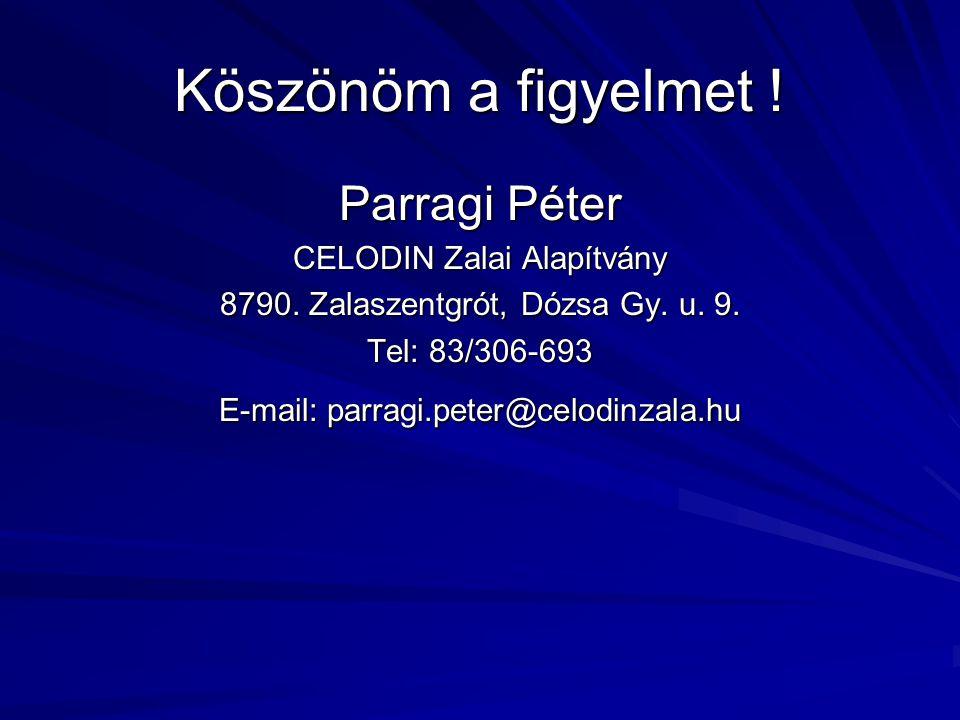 Köszönöm a figyelmet ! Parragi Péter CELODIN Zalai Alapítvány 8790. Zalaszentgrót, Dózsa Gy. u. 9. Tel: 83/306-693 E-mail: parragi.peter@celodinzala.h