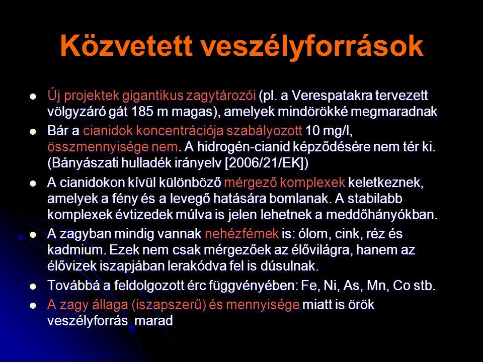 Közvetett veszélyforrások  Új projektek gigantikus zagytározói (pl.