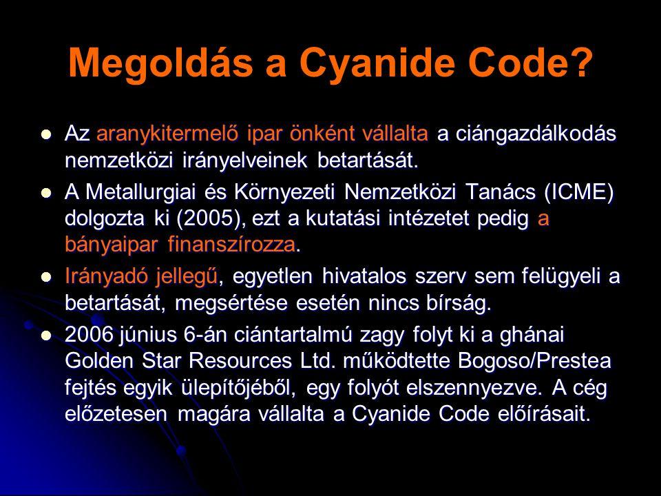 Megoldás a Cyanide Code?  Az aranykitermelő ipar önként vállalta a ciángazdálkodás nemzetközi irányelveinek betartását.  A Metallurgiai és Környezet